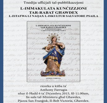 Book launch this Sunday on the statue of the Immaculate Conception
