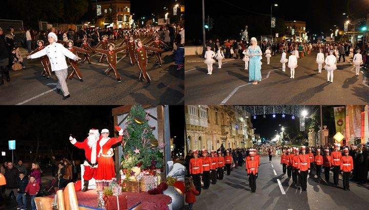 Christmas Parade on Saturday evening in Victoria, Gozo