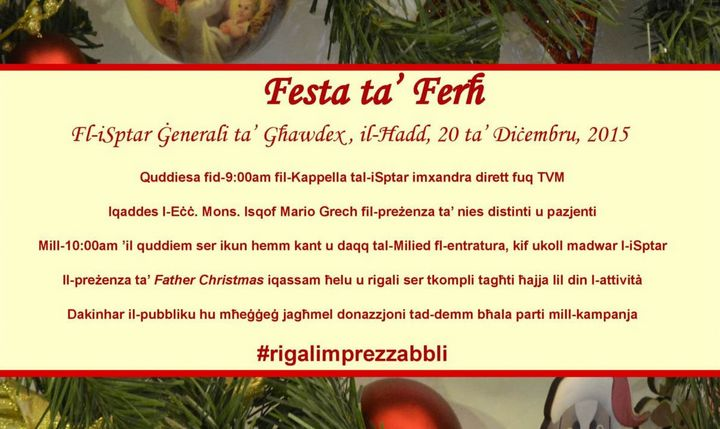 Festa ta' Ferh: Feast of Joy at Gozo General Hospital on Sunday