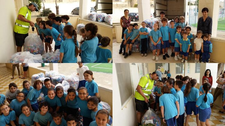 GC San Lawrenz Primary collects 820Kg of plastic caps for 'Irricikla Ghall-Istrina'