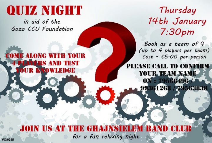 Gozo CCU Foundation's Quiz Night: Test your knowledge & have fun!