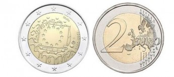€2 coin commemorates 30th anniversary of the EU Flag