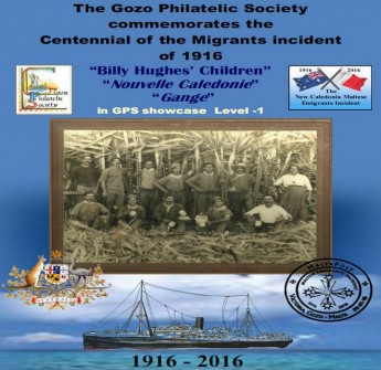 Gozo Philatelic Society exhibition: `New Caledonia Migrants Incident'