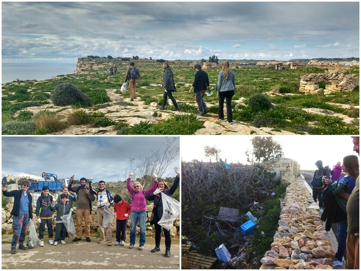 Gozo Rocks Cleanup Hike collect 29 bags of rubbish around Sannat & Xlendi