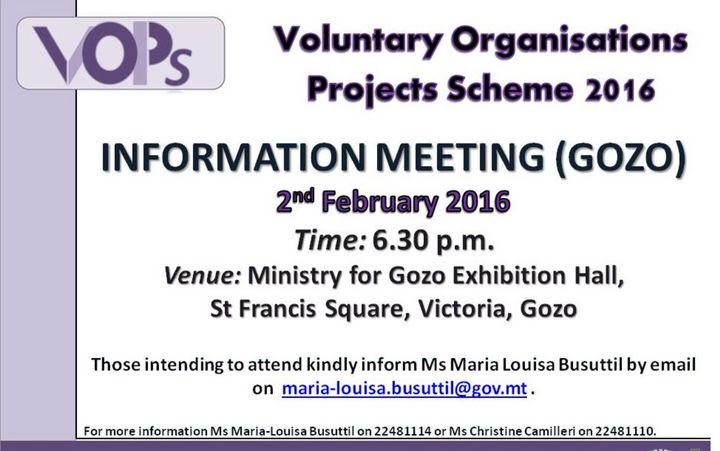 Voluntary Organisations Projects Scheme information meeting in Gozo