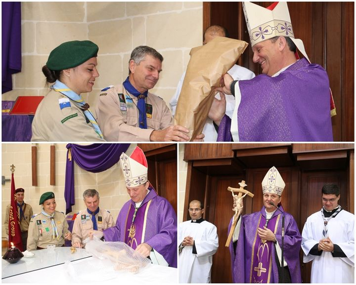 Hand-carved cross presented to Bishop Grech by Gozo Scout District