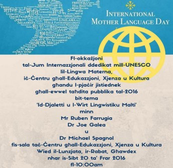 UNESCO's International Mother Language Day: Gozo public lecture