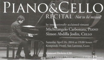 Fundraising Piano & cello recital at the Kempinski Hotel San Lawrenz