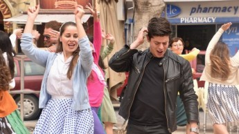 Cast members perform excerpts from the musical Grease in Victoria
