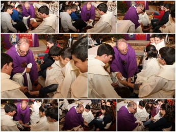 Children have their feet washed during Maundy Thursday ceremony