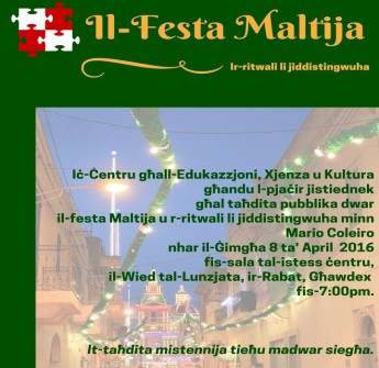Gozo public lecture this Friday on the Maltese feast and traditions