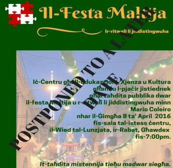 Gozo public lecture postponed on the Maltese feast and traditions