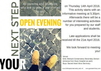 Bishop's Conservatory Secondary School Open Evening on Thursday