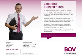 Bank of Valletta extended opening hours for summer