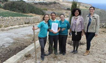 Tree planting activity by Gozitan students as part of the LEAF Project