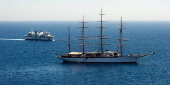 Rigged sailing ship `Sea Cloud' stops at Mgarr, Gozo