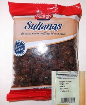Environmental Health warning on Lamb Brand sultanas