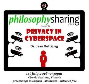 Philosophy Sharing Gozo public talk on `Privacy in Cyberspace