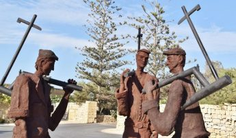 Three farmers talking: New Public Art in Gozo sculpture in Sannat