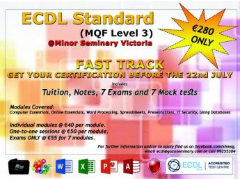 ECDL Fast Track course in Gozo for Standard certification