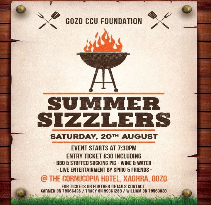 Poolside Summer Sizzlers BBQ in aid of Gozo CCU Foundation