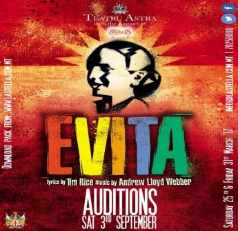 Astra Theatre call for auditions for Evita, billed for March 2017