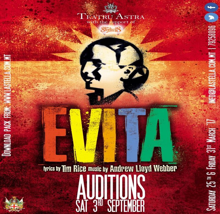 Open auditions for roles in Evita at the Astra Theatre, Gozo