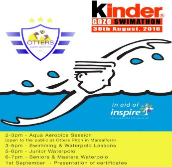 The Kinder Gozo Swimathon in aid of Inspire at Otters Marsalforn