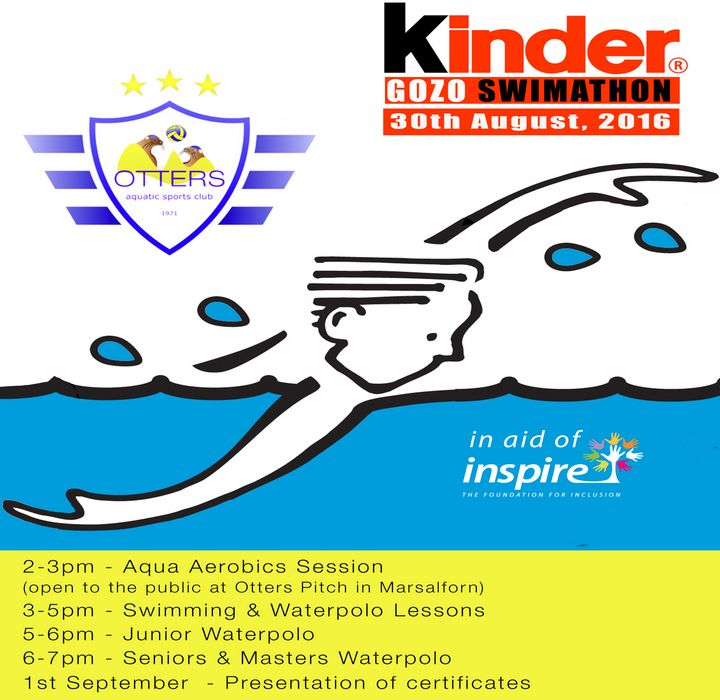 Kinder Gozo Swimathon at Otters Marsalforn in aid of Inspire