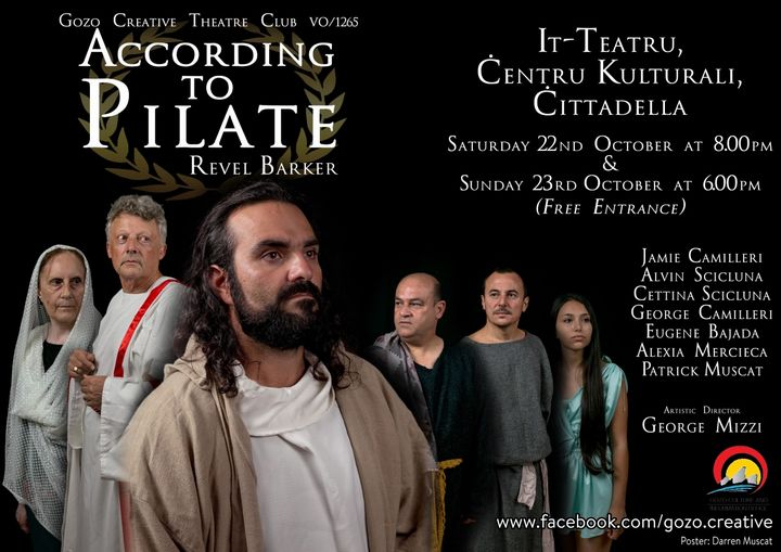 World premier of `According to Pilate' a play by Revel Barker