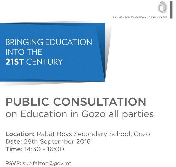 Public Consultation next Wednesday on education in Gozo