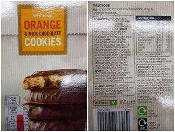 Warning on Waitrose orange cookies for undeclared hazelnuts