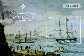Postage stamp issue: Maritime Malta Series IV HMS Hastings