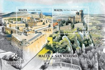 Joint stamp issue features Gozo Citadel & Prima Torre in San Marino