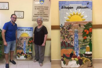 Mosaic panel by Mary Portelli depicting agriculture & scenes of Nadur