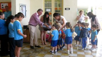 Pencil cases and maps distributed to San Lawrenz school children