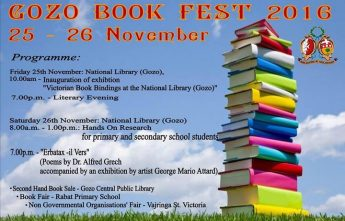 Gozo Book Fest 2016: 2 days of activities start Friday in Victoria