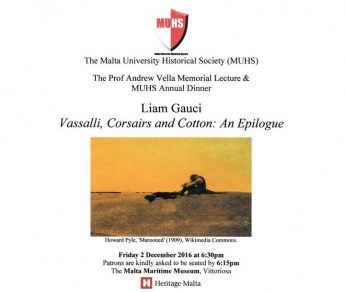 Malta University Historical Society Lecture and Annual Dinner