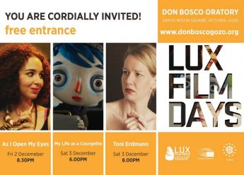 LUX Film Days Gozo: 3 films this weekend at the Oratory Don Bosco