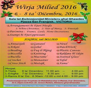 Wirja Milied 2016 opens this Tuesday at the Ministry for Gozo