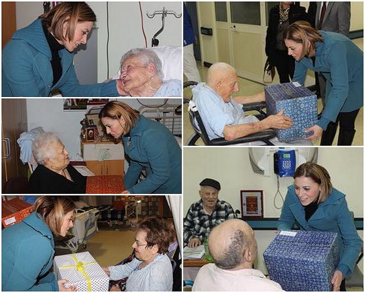 Dr Justyne Caruana's Christmas visit to elderly residents at Gozo Hospital