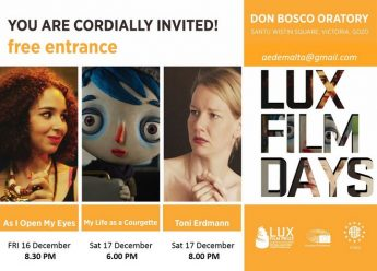 LUX Film Days Gozo: 3 films next weekend at the Oratory Don Bosco