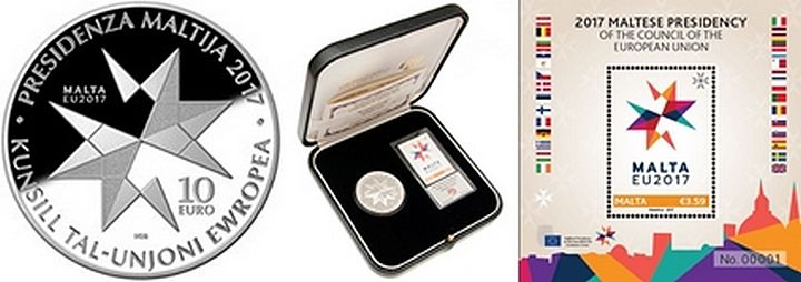 Silver coin, silver foil stamp & stamp launch commemorates Malta's Presidency