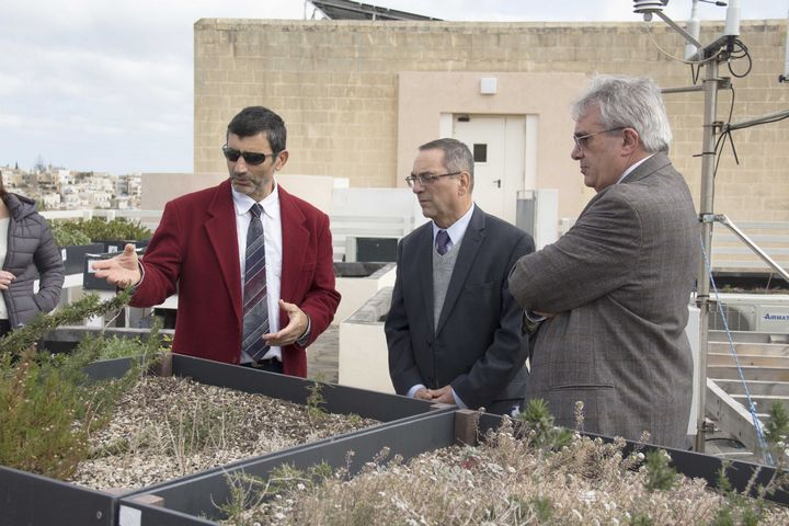 Minister Joe Mizzi visits the LifeMedGreenRoof Project at University of Malta