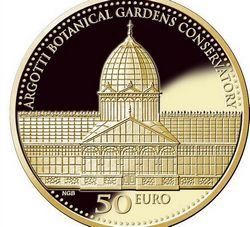 Coins commemorate the Argotti Botanical Gardens Conservatory