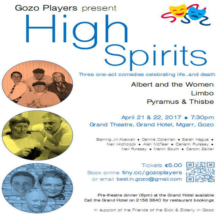 Few tickets remaining for `High Spirits' this weekend in Gozo