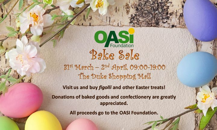 OASI Foundation fundraising Easter Bake Sale at Duke Shopping Mall