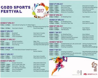 Gozo Sports Festival: A month-long programme of events opens Saturday