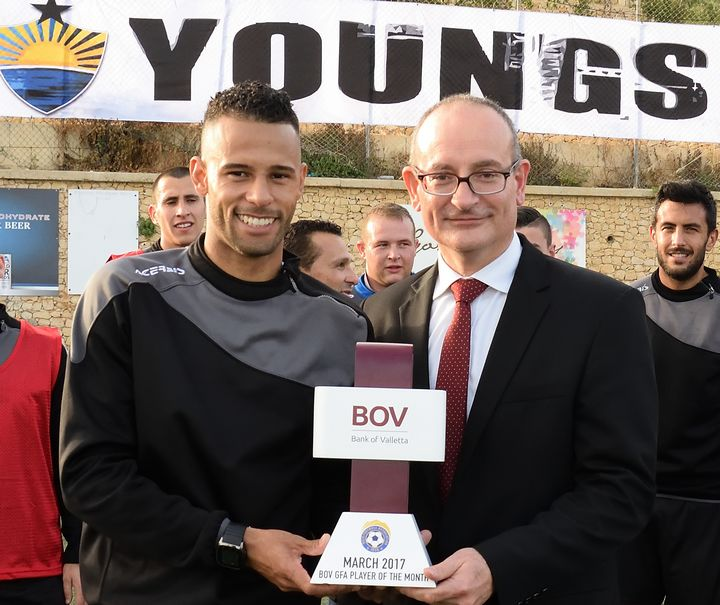 Nadur Youngsters's Claudio Antunes is BOV GFA Player of the Month