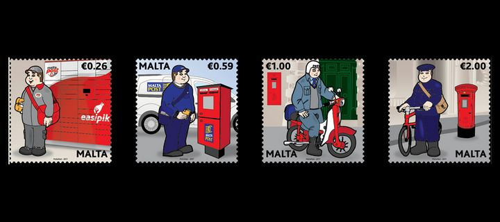 Postal uniforms stamp set from MaltaPost featuring `Peppi Pustier'